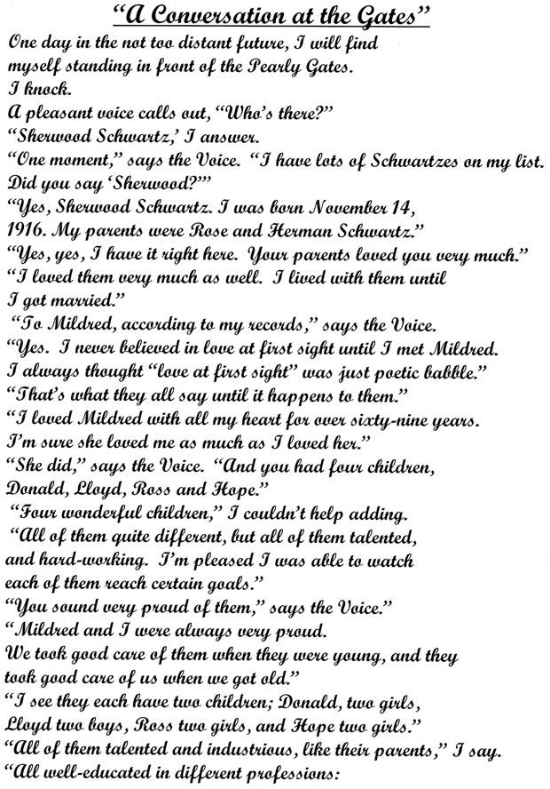 Sherwood SchwartzS Posthumous Farewell Letter