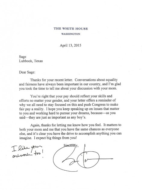 Lubbock student writes president obama receives reply thecheapjerseys Gallery